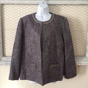Alfred Dunner Women's Blazer Jacket Dark Gray 16